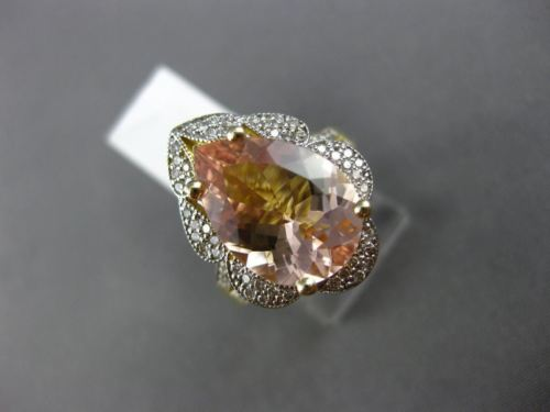 LARGE 4.64CT DIAMOND & AAA PEAR MORGANITE 14K 2 TONE GOLD FLOWER ENGAGEMENT RING