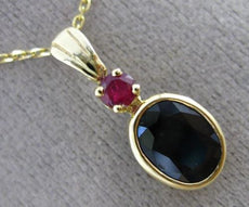 ANTIQUE 1.90CT AAA RUBY & SAPPHIRE 14KT YELLOW GOLD 3D BEZEL OVAL PENDANT #25420