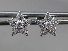 ESTATE .18CT ROUND DIAMOND 14KT WHITE GOLD 3D STAR SOLITAIRE STUD EARRINGS