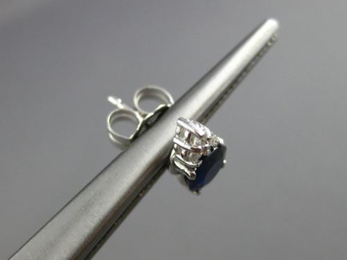 ESTATE 1.10CT DIAMOND & AAA SAPPHIRE 14KT WHITE GOLD CLASSIC STUD EARRINGS 25728