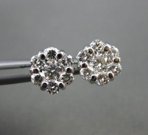 ESTATE 1.09CT DIAMOND 14KT WHITE GOLD FLOWER CLUSTER STUD EARRINGS AMAZING #2812