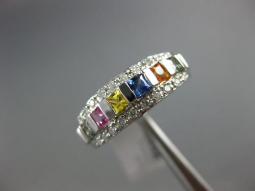 ESTATE 1.0CT DIAMOND & AAA MULTI COLOR SAPPHIRES 14K WHITE GOLD RAINBOW FUN RING