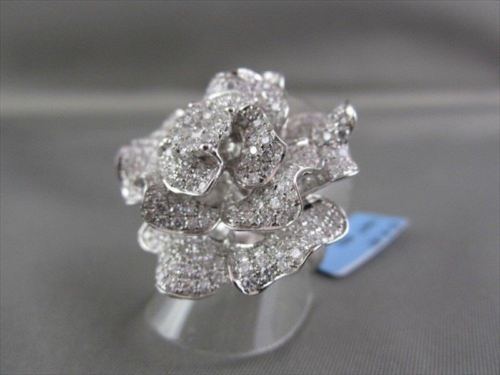 ANTIQUE MASSIVE FILIGREE 18KT WHITE FLOWER 4.67CT DIAMOND RING ONE OF A KIND!!!