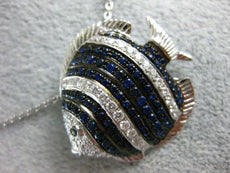 LARGE 1.54CT DIAMOND & AAA SAPPHIRE 18KT WHITE GOLD 3D HAPPY LUCKY FISH PENDANT