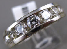 ESTATE WIDE 2.07CT ROUND DIAMOND 14KT WHITE GOLD 3D 9 STONE CHANNEL MENS RING