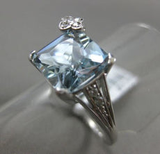 ESTATE 3.22CT DIAMOND & AQUAMARINE 14K WHITE GOLD FLOWER FRIENDSHIP PROMISE RING