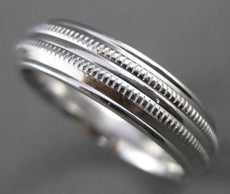 ESTATE 14KT WHITE GOLD HANDCRAFTED DOUBLE ROPE MENS WEDDING BAND RING 5mm #23124
