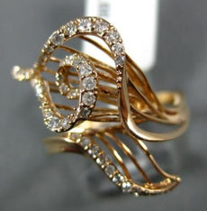 ESTATE LARGE .33CT DIAMOND 14K ROSE GOLD 3D CRISS CROSS OPEN LEAF COCKTAIL RING