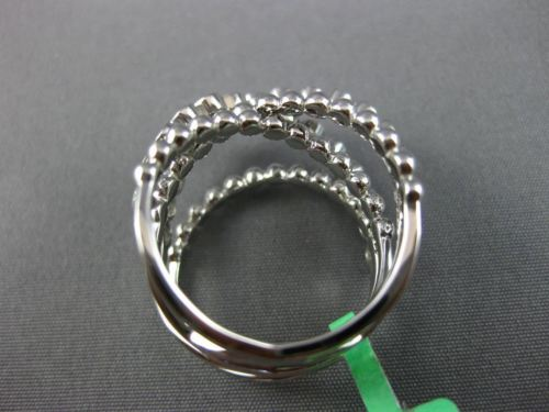 ESTATE WIDE .95CT DIAMOND 18KT WHITE GOLD 3D MULTI ROW CRISS CROSS FUN LOVE RING