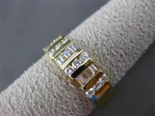 ESTATE WIDE .85CT BAGUETTE & ROUND DIAMOND 14K YELLOW GOLD ANNIVERSARY RING 3821