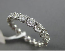 ESTATE .92CT DIAMOND 14KT WHITE GOLD HANDCRAFTED HEART ETERNITY ANNIVERSARY RING