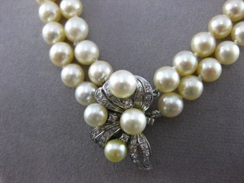 ANTIQUE .50CT OLD MINE DIAMOND 14KT W GOLD DOUBLE STRANDED PEARL NECKLACE #22363
