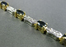 ESTATE 3.20CT DIAMOND & AAA SAPPHIRE 14KT WHITE & YELLOW GOLD 3D TENNIS BRACELET