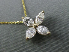 ANTIQUE 1.30CT MARQUISE DIAMOND 14KT YELLOW GOLD 3D 4 LEAF FLOWER PENDANT #19788