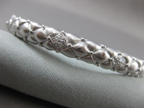 ANTIQUE .25CT DIAMOND 14KT WHITE GOLD FILIGREE SNAKE DESIGN OVAL BANGLE #10852