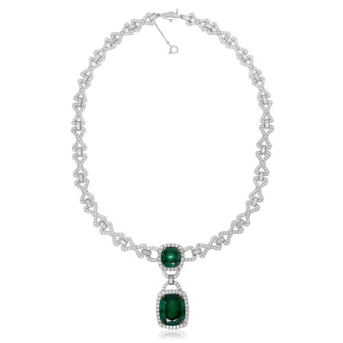 LARGE 24.9CT DIAMOND & CUSHION AAA EMERALD 18K 2TONE GOLD LARIAT TENNIS NECKLACE