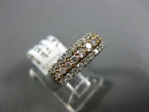 ESTATE WIDE .81CT DIAMOND 14K WHITE & ROSE GOLD 3 ROW CLASSIC ANNIVERSARY RING
