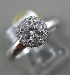 ESTATE WIDE .51CT DIAMOND 18KT WHITE GOLD 3D CLASSIC ROUND HALO ENGAGEMENT RING