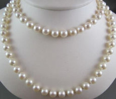 ANTIQUE LONG 32 INCHES 8.5mm AAA WHITE SOUTH SEA PEARLS NECKLACE SIMPLY THE BEST