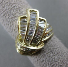 ESTATE WIDE 2.50CT BAGUETTE DIAMOND 18KT YELLOW GOLD WAVE MULTI ROW RING #21187