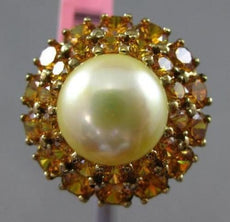 ANTIQUE LARGE 3.50CT CITRINE & SOUTH SEA PEARL 14K YELLOW GOLD CLASSIC HALO RING