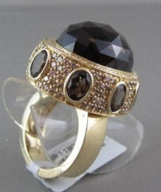 ANTIQUE WIDE 14KT GOLD YELLOW 30.03CT SMOKEY TOPAZ & DIAMOND OVAL COCKTAIL RING