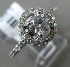 ESTATE 1.34CT DIAMOND 14KT WHITE GOLD CLASSIC HALO SEMI ETERNITY ENGAGEMENT RING