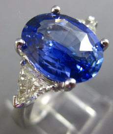 CERTIFIED LARGE 7CT DIAMOND & AAA CEYLON SAPPHIRE 14K WHITE GOLD ENGAGEMENT RING
