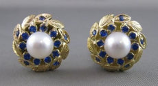 ESTATE SAPPHIRE 7MM PEARL 14KT YELLOW FILIGREE WREATH EARRINGS OMEGA CLIP #20788