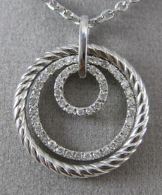 ESTATE .50CT DIAMOND 14KT WHITE GOLD 3D MULTI TRI CIRCLE ROPE FLOATING NECKLACE