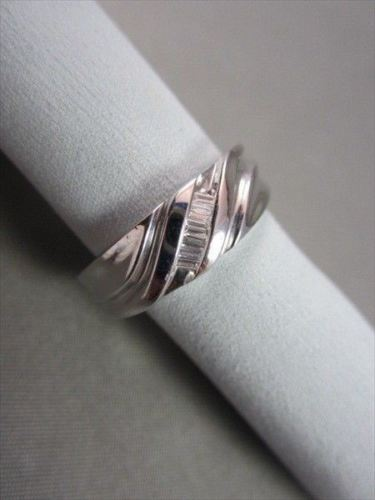 WIDE 7mm HAND CRAFTED .17CT F VVS DIAMOND 14KT WHITE GOLD MENS WEDDING BAND !!!!