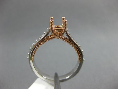.48CT DIAMOND 14KT WHITE & ROSE GOLD 3D 4 PRONG ROPE SEMI MOUNT ENGAGEMENT RING