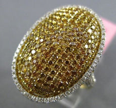 ESTATE EXTRA LARGE 2.27CT WHITE & YELLOW DIAMOND 18KT 2 TONE GOLD OVAL PAVE RING
