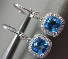 3.04CT DIAMOND & AAA BLUE TOPAZ 14KT WHITE GOLD HALO LEVERBACK HANGING EARRINGS