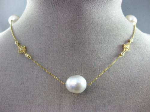 ESTATE LARGE .90CT DIAMOND 14KT YELLOW GOLD SOUTH SEA PEARL BY THE YARD NECKLACE