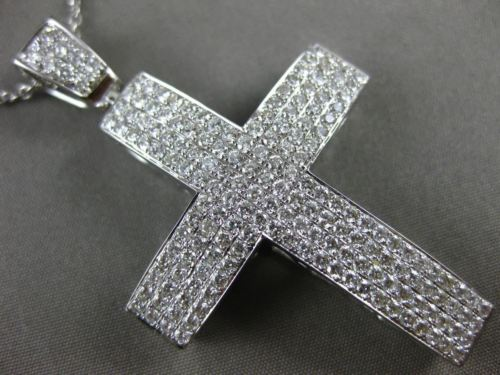 EXTRA LARGE 2.16CT DIAMOND 18KT WHITE GOLD CLASSIC MULTI ROW PAVE CROSS PENDANT
