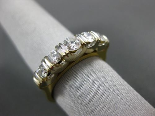 ESTATE WIDE .85CT DIAMOND 18KT TWO TONE GOLD FIVE STONE ANNIVERSARY RING #1366