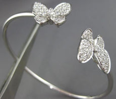LARGE 1.66CT ROUND & MARQUISE DIAMOND 18KT WHITE GOLD BUTTERFLY BANGLE BRACELET