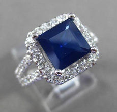 ESTATE LARGE 3.86CT DIAMOND & AAA SAPPHIRE 14K WHITE GOLD SQUARE HALO RING 23953