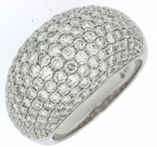 ESTATE LARGE 3CT DIAMOND 14KT WHITE GOLD MULTI ROW CLASSIC PAVE ANNIVERSARY RING