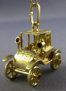 ANTIQUE LARGE .37CT AAA RUBY & SAPPHIRE 18KT YELLOW GOLD CAR CHARM PENDANT 26180