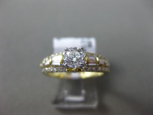 ESTATE 1.0CT ROUND & BAGUETTE DIAMOND 14KT YELLOW GOLD 3D 3 ROW ENGAGEMENT RING