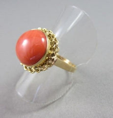 ANTIQUE WIDE ROUND FILIGREE AAA CORAL18KT YELLOW GOLD RING BEAUTIFUL!!! # 21927