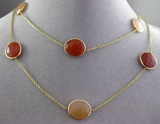 ANTIQUE EXTRA LONG 14KT YELLOW GOLD AAA MULTI FACET AGATE BY THE YARD NECKLACE
