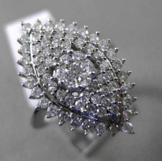 ESTATE MASSIVE 1.69CT DIAMOND 14KT WHITE GOLD CLUSTER MARQUISE COCKTAIL RING