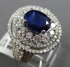 ESTATE LARGE 6.62CT DIAMOND & SAPPHIRE 18KT GOLD 3D TRIPLE HALO ENGAGEMENT RING