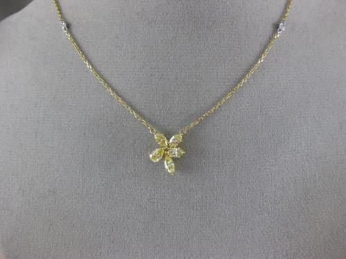GIA 1.57CT WHITE & FANCY YELLOW DIAMOND 18KT YELLOW GOLD CLASSIC FLOWER NECKLACE