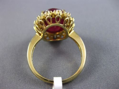 7.79CT DIAMOND & AAA OVAL RUBY 14KT YELLOW GOLD 3D HALO FILIGREE ENGAGEMENT RING