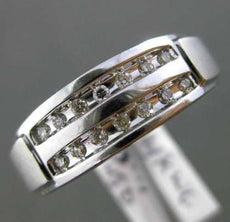 ESTATE WIDE .15CT DIAMOND 14KT WHITE GOLD 3D 3 ROW WEDDING ANNIVERSARY MENS RING