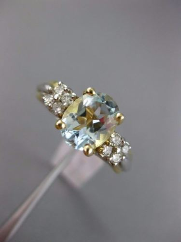 ESTATE 2.32CT DIAMOND & AAA OVAL AQUAMARINE 14KT 2 TONE GOLD 3D ENGAGEMENT RING